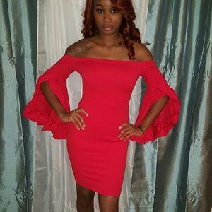 Dresses - Off Shoulder Ruffle Sleeve Dress